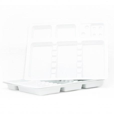 Plateau en plastique blanc disposable